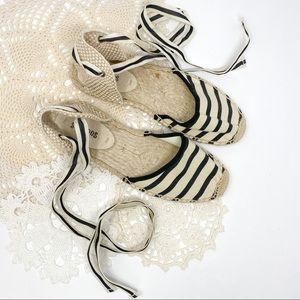 Soludos   Striped Espadrilles Ankle Tie Sandals